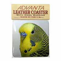 Yellow Budgerigar, Budgie Single Leather Photo Coaster Perfect Gift
