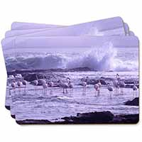 Pink Flamingo on Sea Shore Picture Placemats in Gift Box