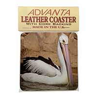 Pelican Print Single Leather Photo Coaster Animal Breed Gift