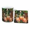 Pink Flamingo Print Mug+Coaster Christmas/Birthday Gift Idea
