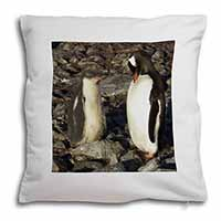 Penguins on Pebbles Soft Velvet Feel Cushion Cover With Inner Pillow