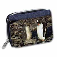Penguins on Pebbles Girls/Ladies Denim Purse Wallet Christmas Gift Idea