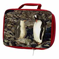 Penguins on Pebbles Insulated Red School Lunch Box/Picnic Bag