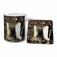 Penguins on Pebbles Mug+Coaster Christmas/Birthday Gift Idea