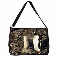 Penguins on Pebbles Large Black Laptop Shoulder Bag School/College