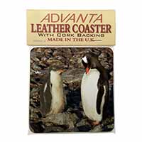 Penguins on Pebbles Single Leather Photo Coaster Animal Breed Gift