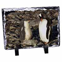 Penguins on Pebbles Photo Slate Christmas Gift Ornament
