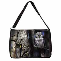 Stunning Owl in Tree Large Black Laptop Shoulder Bag School/College