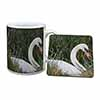 Swan in Grass Land Mug+Coaster Christmas/Birthday Gift Idea