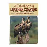 Vultures on Watch Single Leather Photo Coaster Perfect Gift