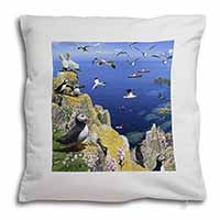 Puffins and Sea Bird Montage Soft Velvet Feel Cushion Cover With Inner Pillow
