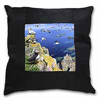 Puffins and Sea Bird Montage Black Border Satin Feel Cushion Cover With Pillow I