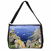 Puffins and Sea Bird Montage Large Black Laptop Shoulder Bag School/College