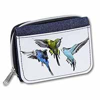 Budgerigars, Budgies in Flight Girls/Ladies Denim Purse Wallet Birthday Gift Ide