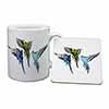 Budgerigars, Budgies in Flight Mug+Coaster Christmas/Birthday Gift Idea