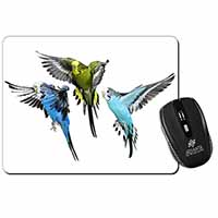 Budgerigars, Budgies in Flight Computer Mouse Mat Birthday Gift Idea
