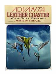 Budgies in Flight Single Leather Photo Coaster Perfect Gift