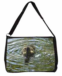 A Cute Young Baby Duck Large Black Laptop Shoulder Bag School/College