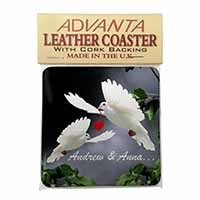 Doves Personalised Valentines Day Gift Single Leather Photo Coaster Perfect Gift