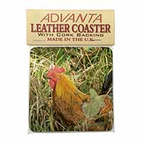 Hen in Straw Single Leather Photo Coaster Perfect Gift