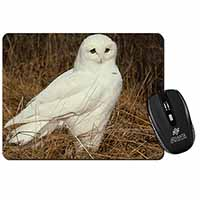 White Barn Owl Computer Mouse Mat Birthday Gift Idea