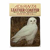 White Barn Owl Single Leather Photo Coaster Perfect Gift