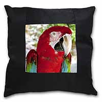 Green Winged Red Macaw Parrot Black Border Satin Feel Cushion Cover+Pillow Inser
