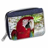 Green Winged Red Macaw Parrot Girls/Ladies Denim Purse Wallet Birthday Gift Idea