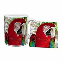 Green Winged Red Macaw Parrot Mug+Coaster Birthday Gift Idea