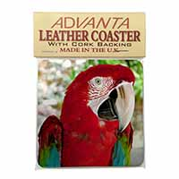 Green Winged Red Macaw Parrot Single Leather Photo Coaster Perfect Gift