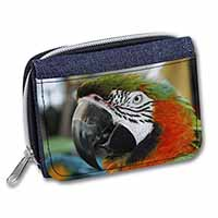 Face of a Macaw Parrot Girls/Ladies Denim Purse Wallet Birthday Gift Idea