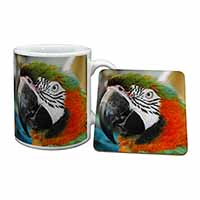 Face of a Macaw Parrot Mug+Coaster Birthday Gift Idea