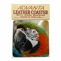 Face of a Macaw Parrot Single Leather Photo Coaster Perfect Gift