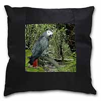 African Grey Parrot Black Border Satin Feel Scatter Cushion