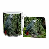 African Grey Parrot Mug+Coaster Birthday Gift Idea