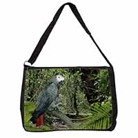 African Grey Parrot Large Black Laptop Shoulder Bag School/College