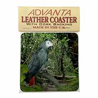 African Grey Parrot Single Leather Photo Coaster Perfect Gift