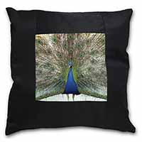 Rainbow Feathers Peacock Black Border Satin Feel Cushion Cover+Pillow Insert