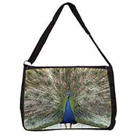 Rainbow Feathers Peacock Large Black Laptop Shoulder Bag School/College