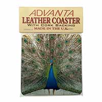 Rainbow Feathers Peacock Single Leather Photo Coaster Perfect Gift