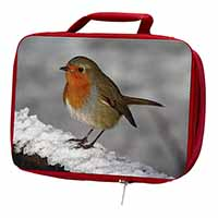 Robin on Snow Wall Insulated Red School Lunch Box/Picnic Bag
