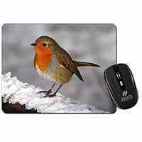 Robin on Snow Wall Computer Mouse Mat Birthday Gift Idea