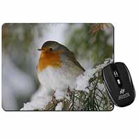Robin Red Breast in Snow Tree Computer Mouse Mat Birthday Gift Idea