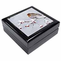 Robin on Snow Berries Branch Keepsake/Jewel Box Birthday Gift Idea