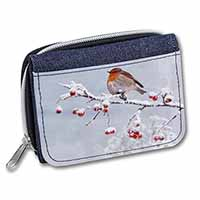 Robin on Snow Berries Branch Girls/Ladies Denim Purse Wallet Birthday Gift Idea