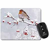 Robin on Snow Berries Branch Computer Mouse Mat Birthday Gift Idea