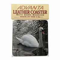 Beautiful Swan Single Leather Photo Coaster Perfect Gift