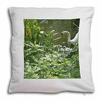 Swan and Baby Cygnets Soft Velvet Feel Scatter Cushion