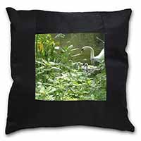 Swan and Baby Cygnets Black Border Satin Feel Scatter Cushion