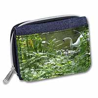 Swan and Baby Cygnets Girls/Ladies Denim Purse Wallet Birthday Gift Idea